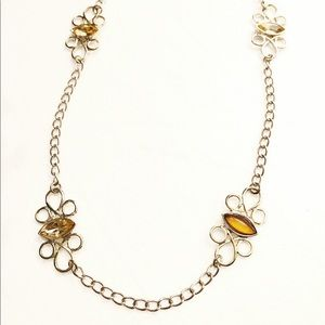 BANANA REPUBLIC gold filigree gemstone necklace